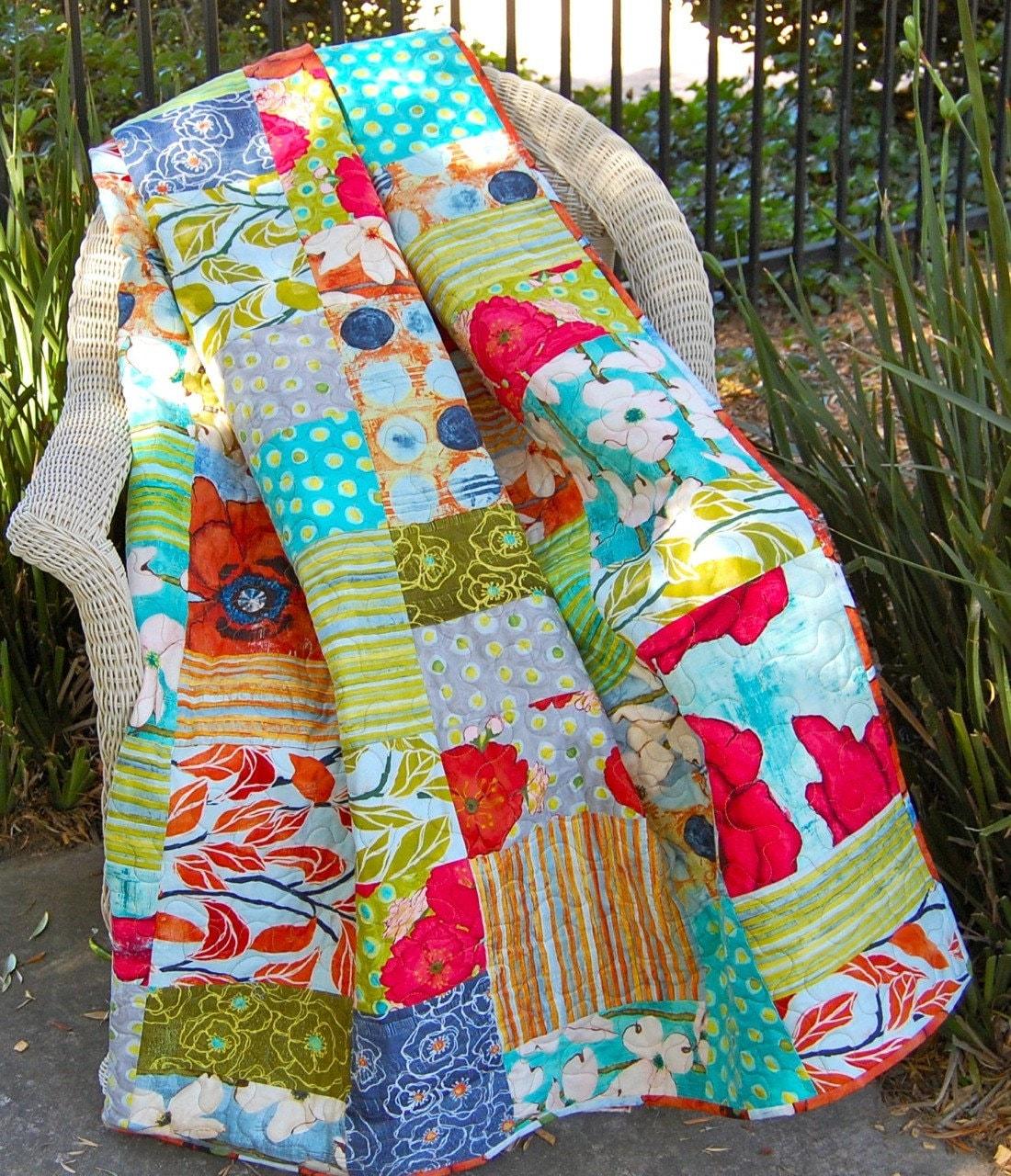 Patchwork Quilt in Poppy by Laura Gunn