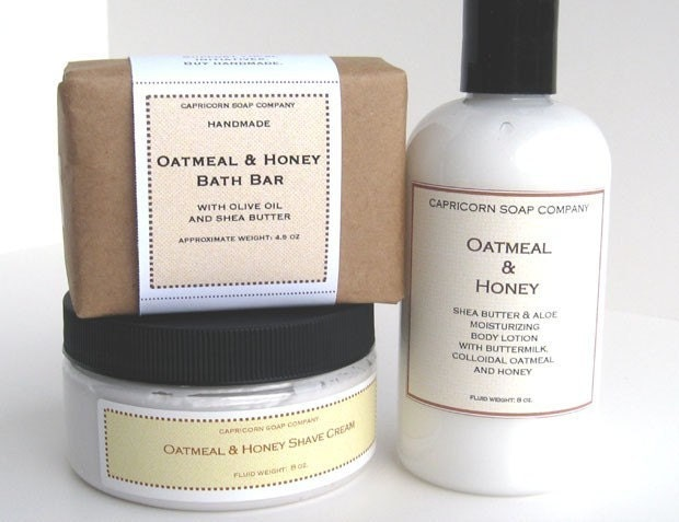 FREE SHIPPING - Oatmeal and Honey Luxury Bath Collection - with our Bath Soap, Creamy Body Lotion and Luxury Shave Cream