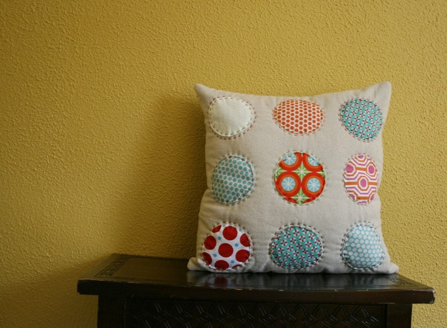 Circles Hand Stitched on Linen - Pillow Cover 16 x 16