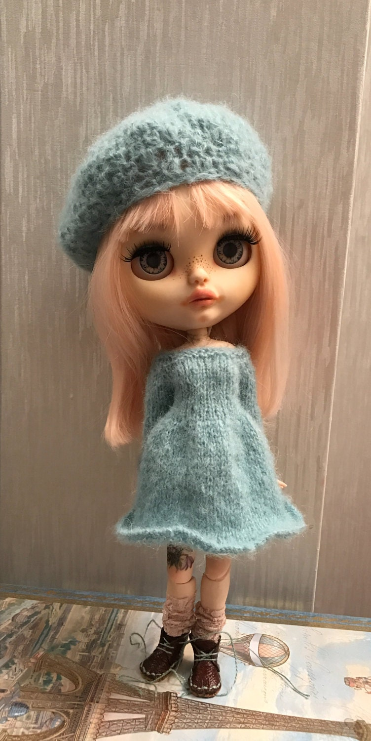 Blythe doll  outfit  hand knitted mohair yarn dress and beret