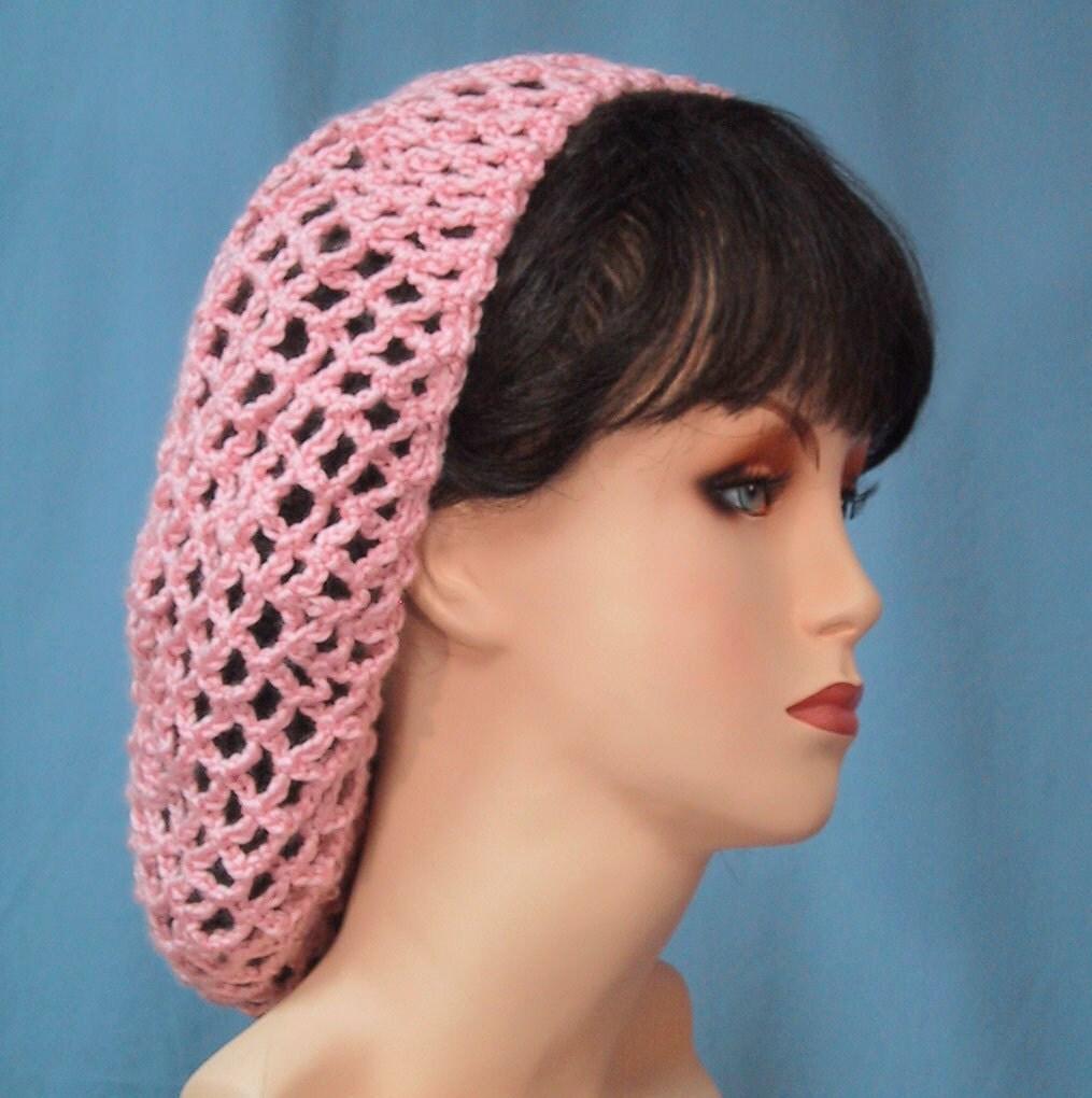 Crochet Hair Net Snood : Crocheted Snood in Pink Handmade 1940s Retro by WeekendEveryday