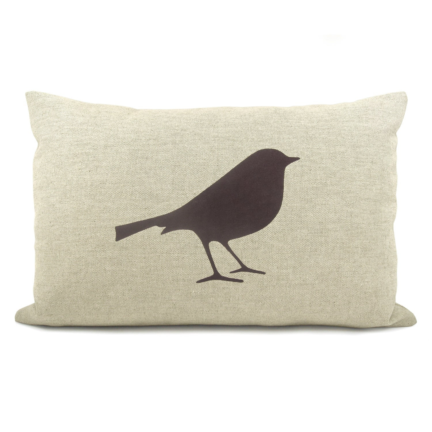 Bird throw pillow cover - Dark brown bird print on natural canvas front and houndstooth print back lumbar pillow - 12x18 accent pillow cover - ClassicByNature