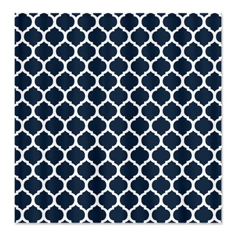 Custom Quatrefoil Shower Curtain-Navy Blue and White OR Choose Colors-Standard & Extra long sizes available