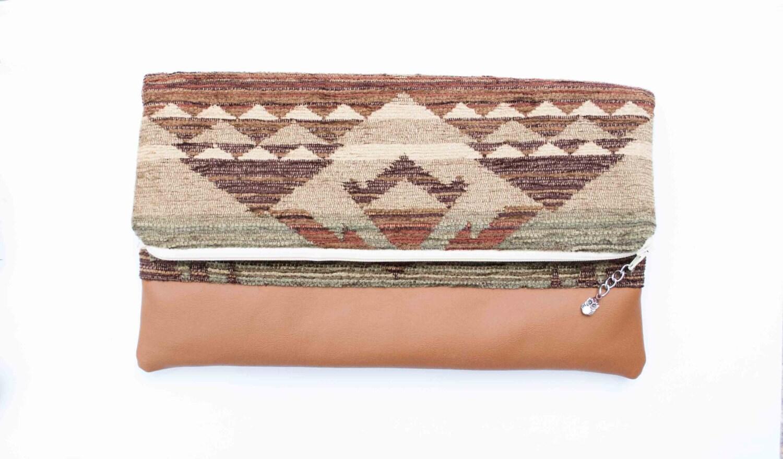 Foldover Native American Inspired Zippered Clutch Purse Vegan - Theorium
