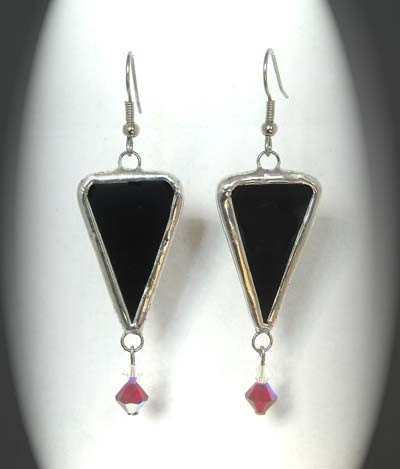 ON SALE NOW Black Stained Glass Earrings With Swarovski Crystals