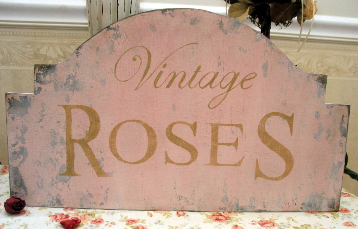 VINTAGE ROSES Shabby cottage chic chippy sign pink romantic