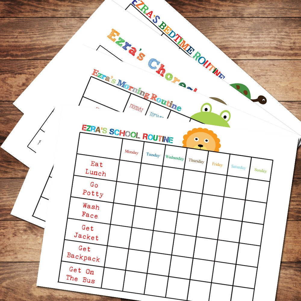 Printable Personalized Chore and Routine Chart Package, DIY, Kids ...