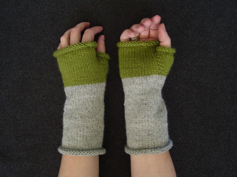 Grey and Spring Green Wool Blend Wrist Warmers