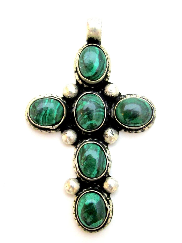 tibetan silver malachite gemstone cross pendant by