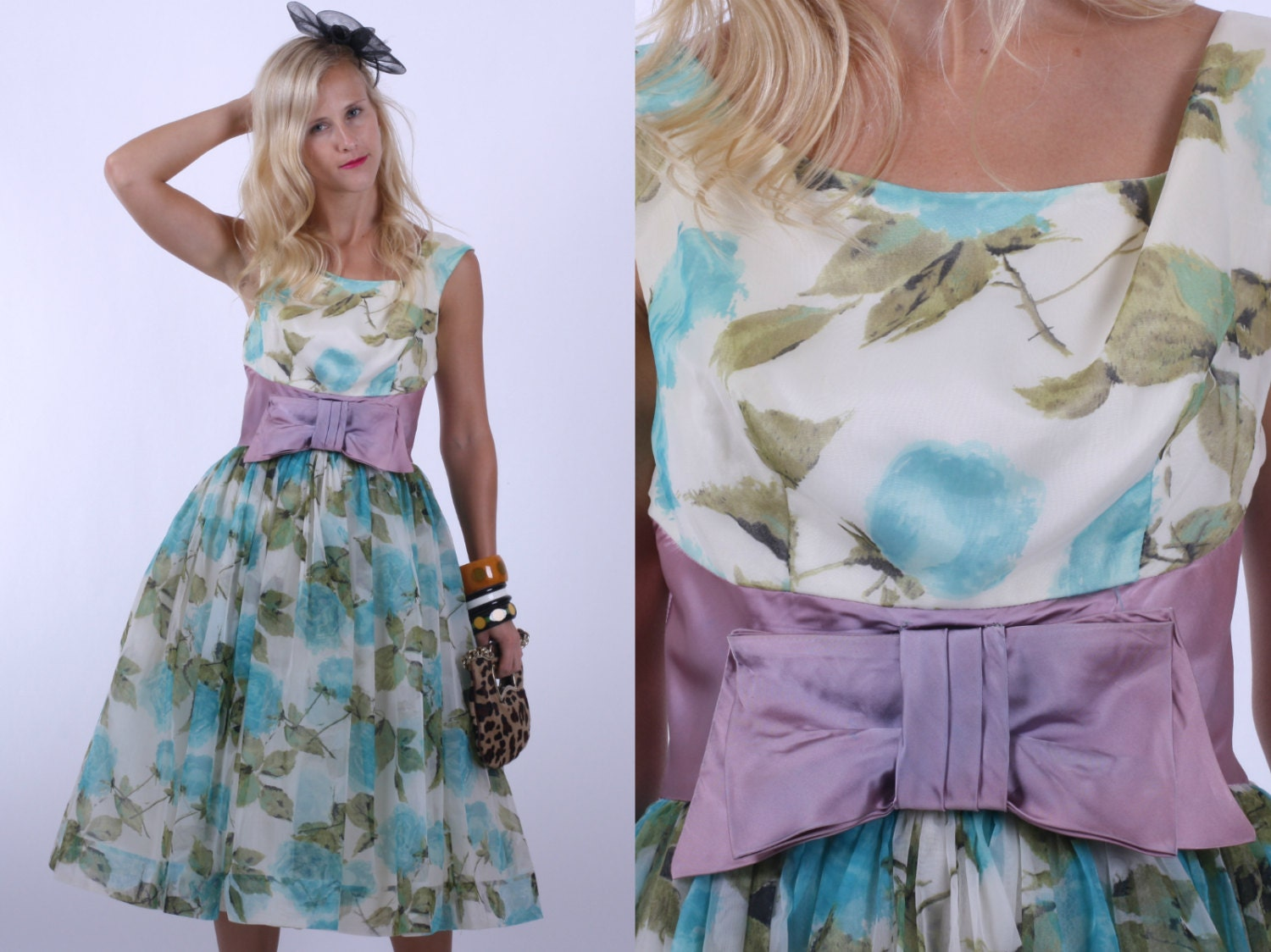 Vintage 50s Dress / 1950s Prom Dress / Turquoise and Green Floral Party Dress w/ Shelf Bust S