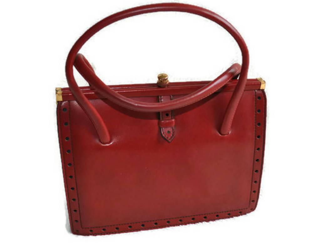 1960s Red Freedex Handbag  Vintage Red Leather Handbag Top Handle Bag  Made in Ireland  Kelly Bag