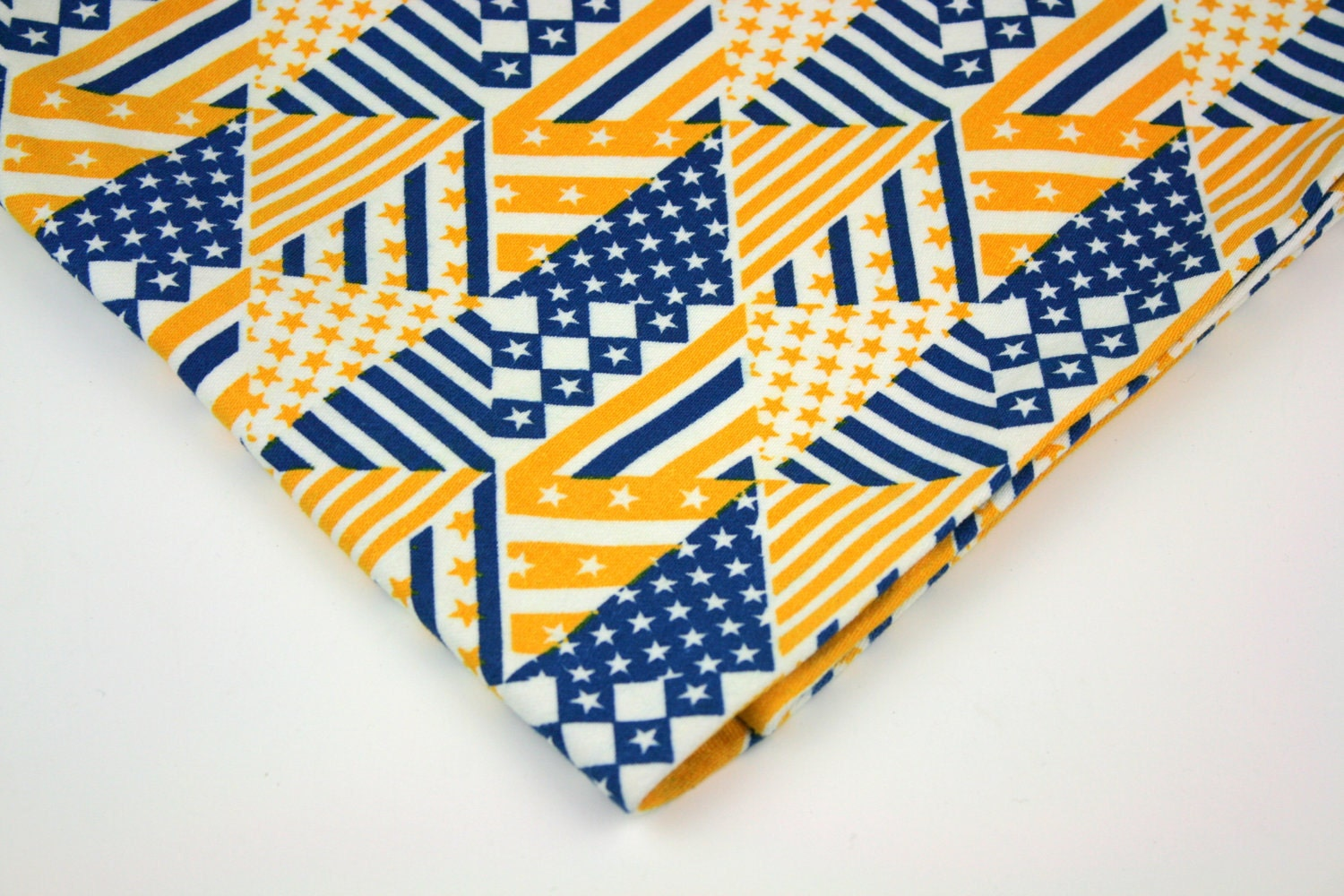 Vintage Fabric Cotton Decorator Yellow Blue Stars Stripes Geometric - ZinniaSnipSnap