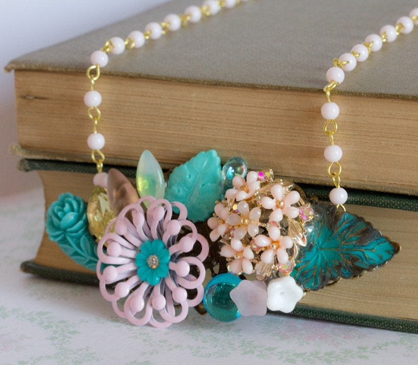 Pink and Turquoise Bouquet- Vintage Collage Necklace