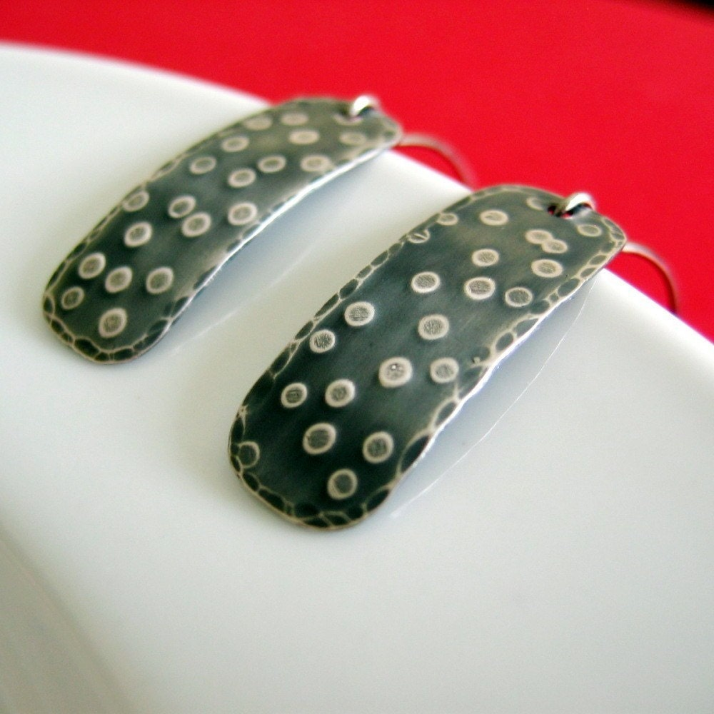 Avocado  hammered sterling silver earrings by 3squares on Etsy