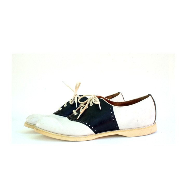 Size 9 Black And White Old School Saddle Shoes By