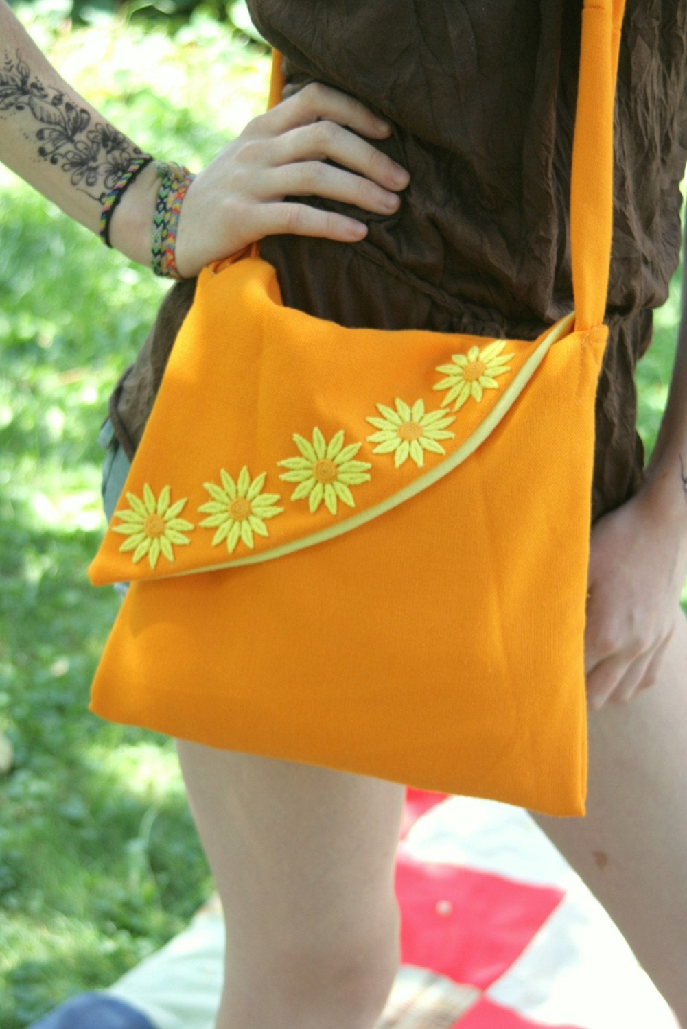Eco Friendly Handmade Messenger Bag Orange Recycled TableCloth Daisies