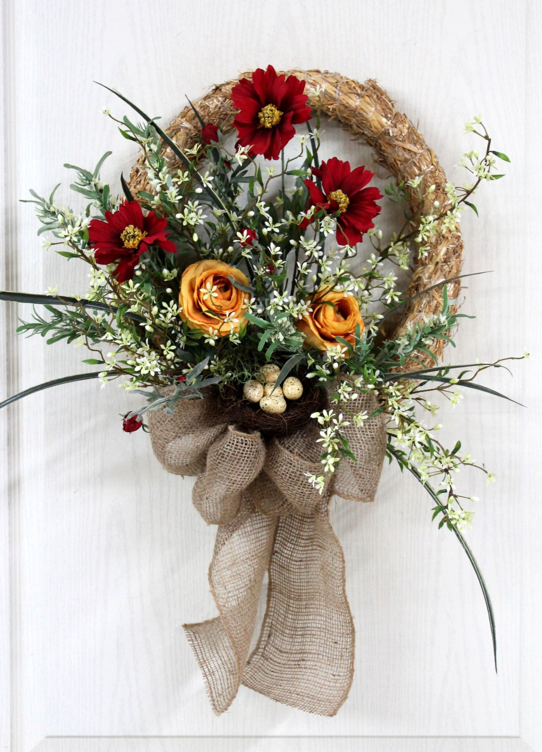 Items Similar To Front Door Wreath Straw Wreath Spring