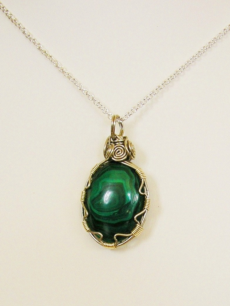 wire wrapped malachite pendant necklace by