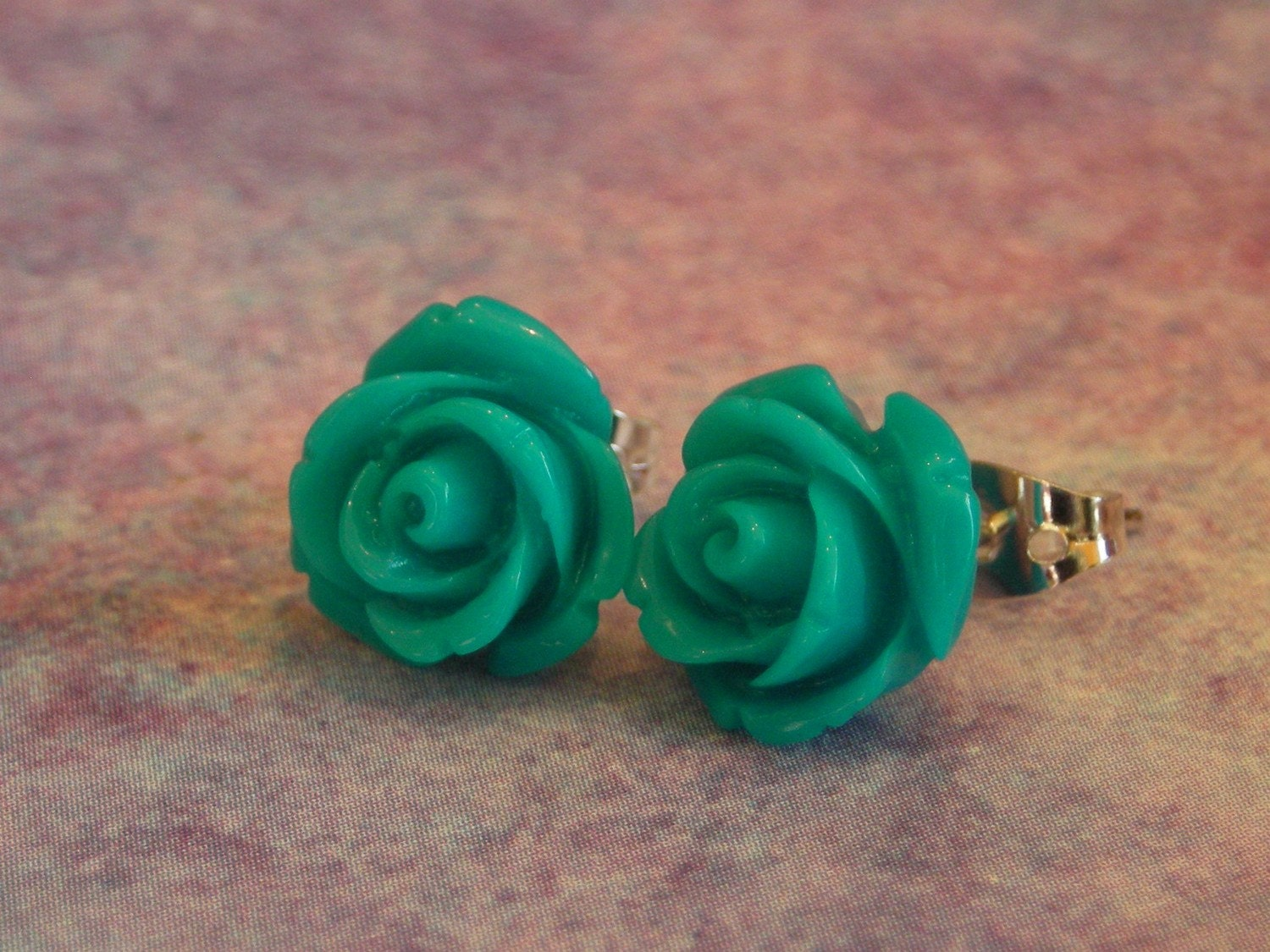 Turquoise rose earrings 10mm