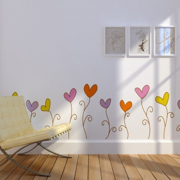Love Flowers Wall Decal Sticker by ArtConductor on Etsy