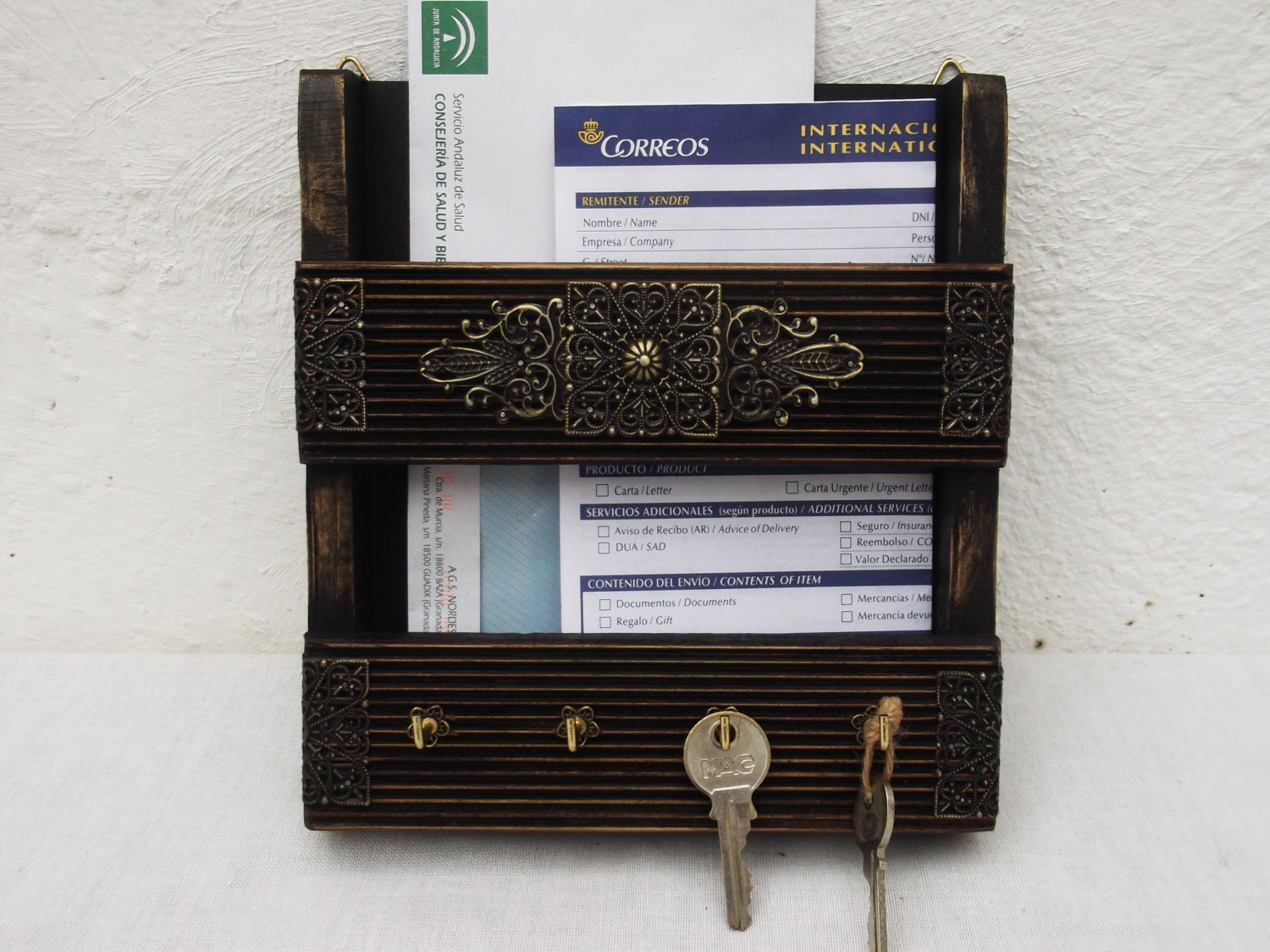 Mail Holder And Key Rack Wall Hanging Letter By