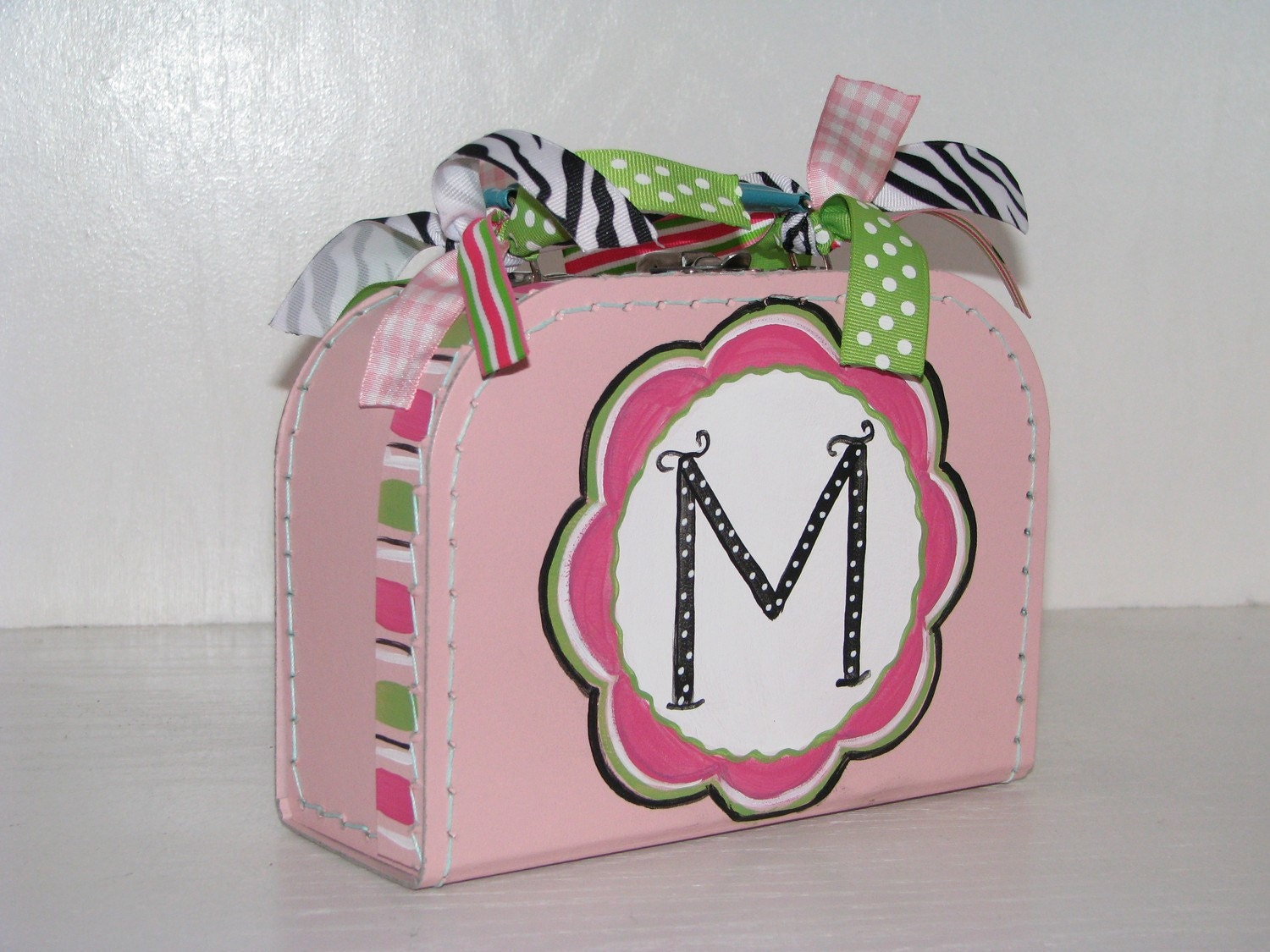 Kids Custom Personalized Mini Euro Suitcase, Girls Hot Pink Flower- Small Orchid Pink with Zebra