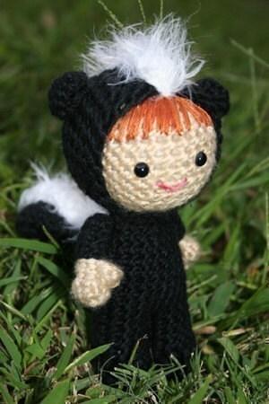 Crochet Pattern- Summer dressed as a skunk amigurumi doll