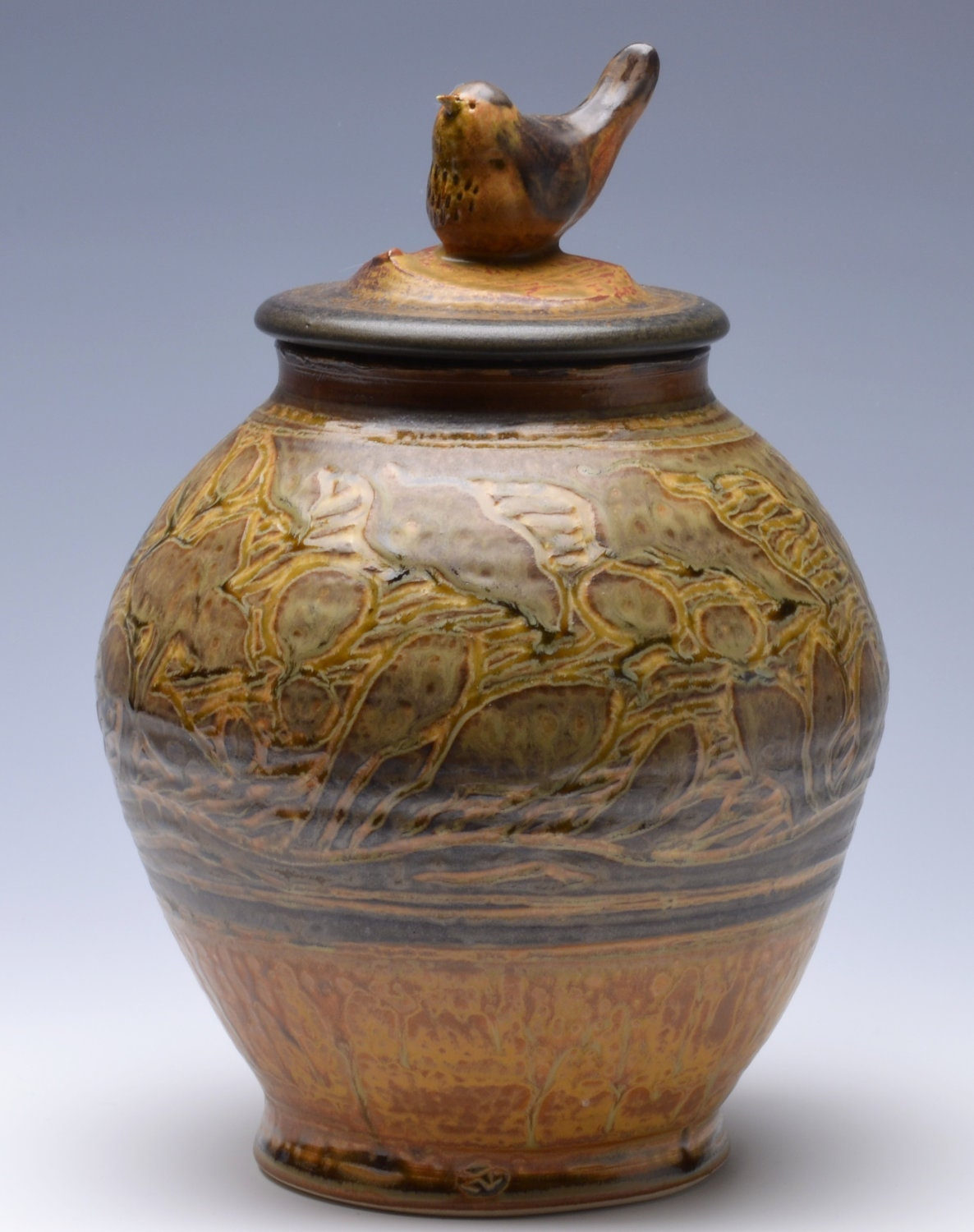 Memorial Cremation Urn Handmade Pottery with Sculpted Bird