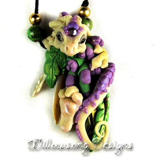 """hand-sculpted Clay Dragon Necklace """"Footsie"""""""