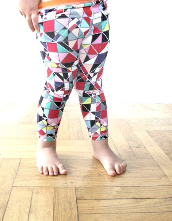 ECO friendly geometric bamboo fiber leggings for kids
