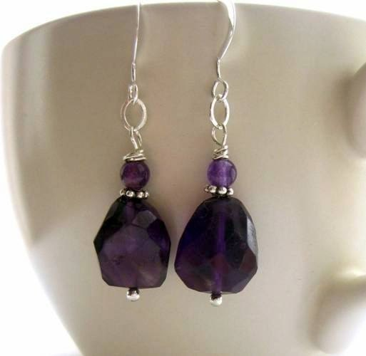 Purple Amethyst Earrings. Gemstone and Sterling Silver. Made in Ireland. Damson