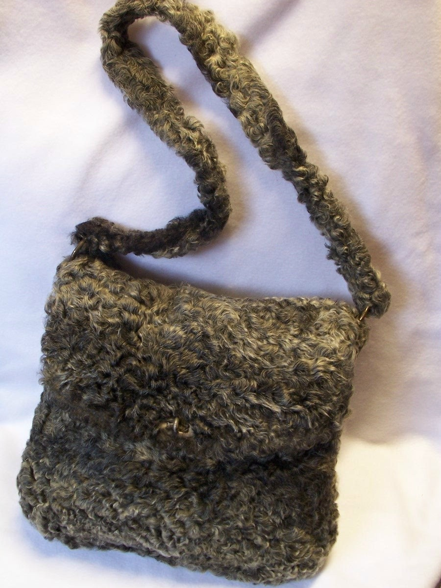 10.00 OFF TODAY Vintage Persian Lamb Wool Boho Shoulder Bag Purse