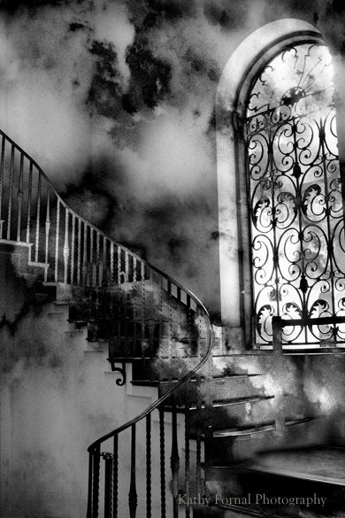 "Black and White Photography, Surreal Gothic Staircase, Ethereal Spooky Haunting Eerie, Fantasy Fine Art Photography 5"" x 7"" - KathyFornal"