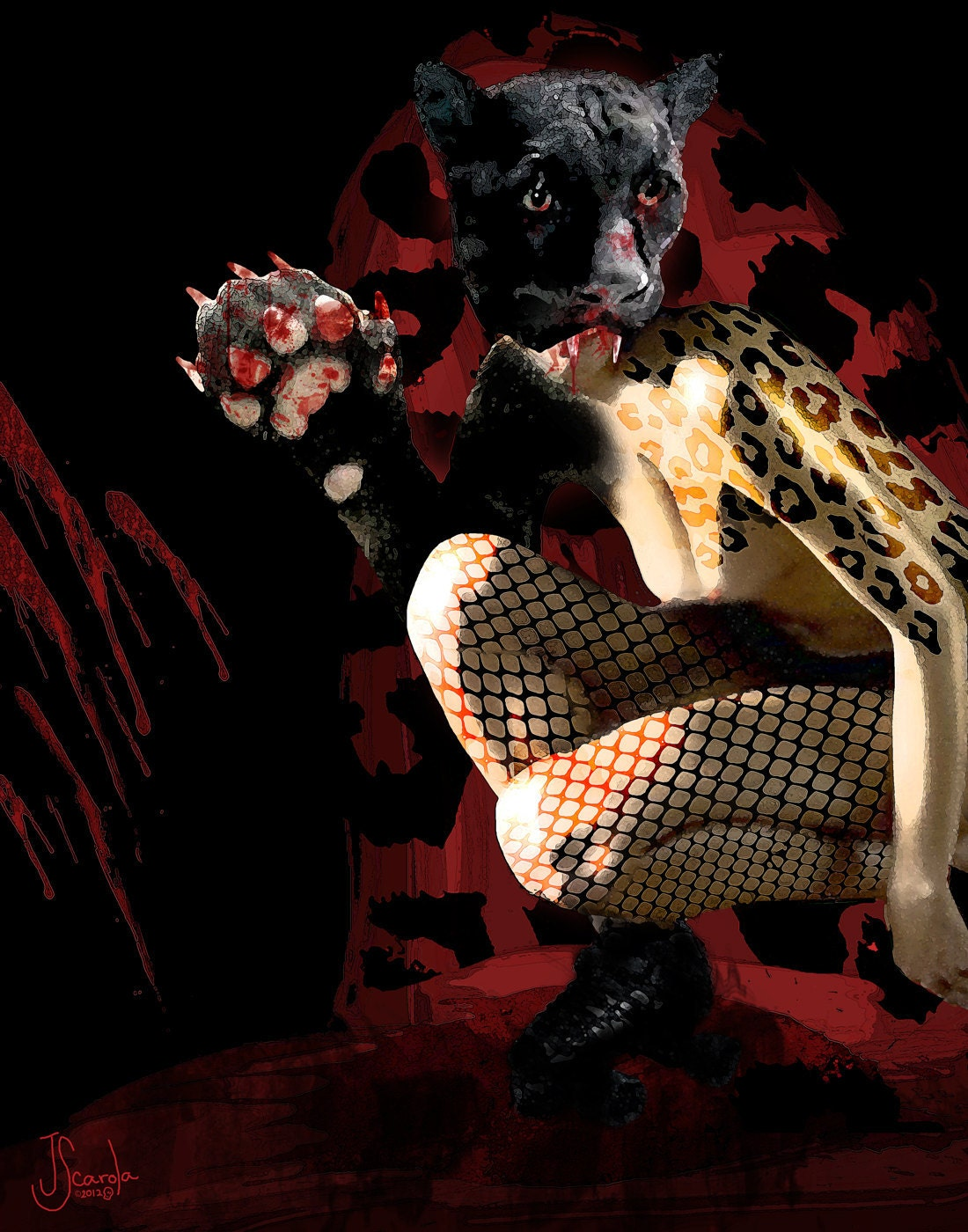 Skate Panther Derby Skater Nude Digital Painting Graphic Art