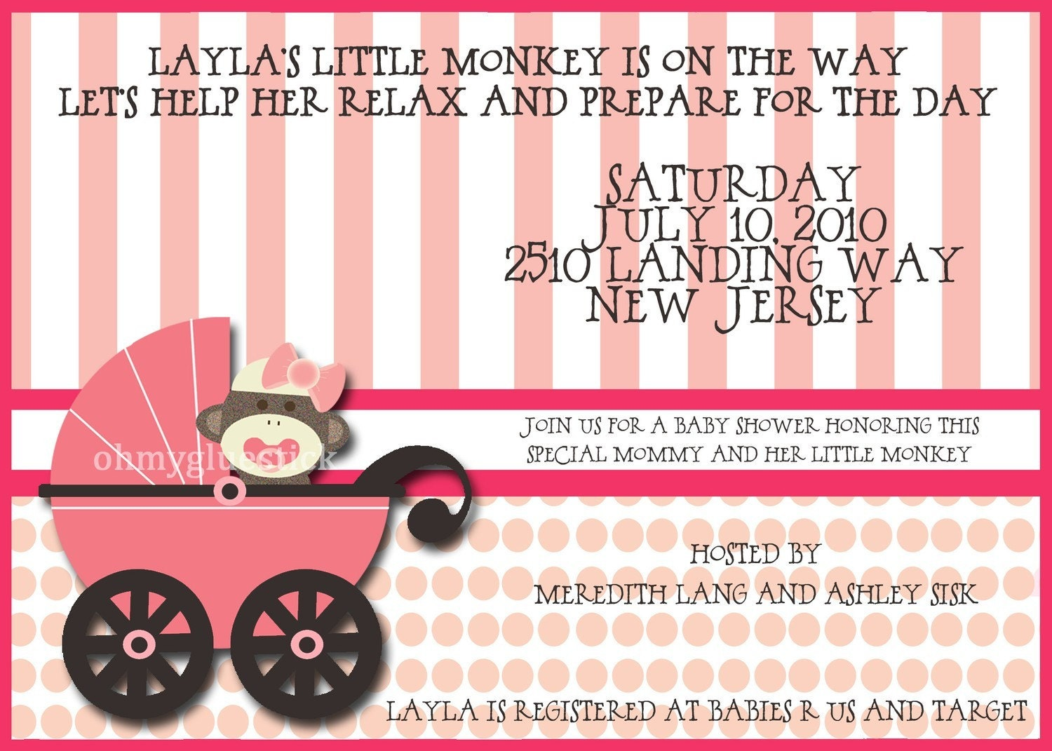 Mod Sock Monkey Girl Baby Shower Printable Invitation