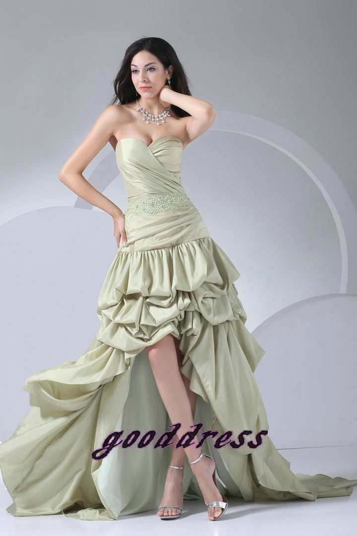 New Custom light Green Sweetheart Beaded Pleated Taffeta High Low Formal Long Evening/Prom/Party/Bridesmaid/Homecoming/Cocktail Dress Gown - gooddress