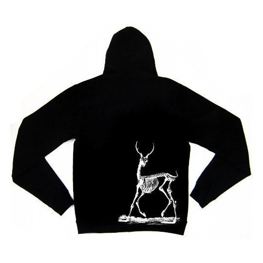 Mens Zip Front Hoodie in Black feat. Deer Skeleton print in White - Available in S, M, L, XL