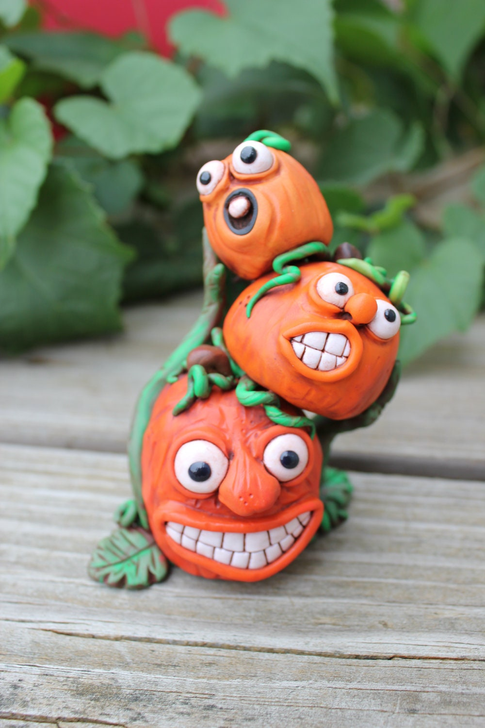 Pumpkin Stack Polymer Clay Sculpture - mirandascritters