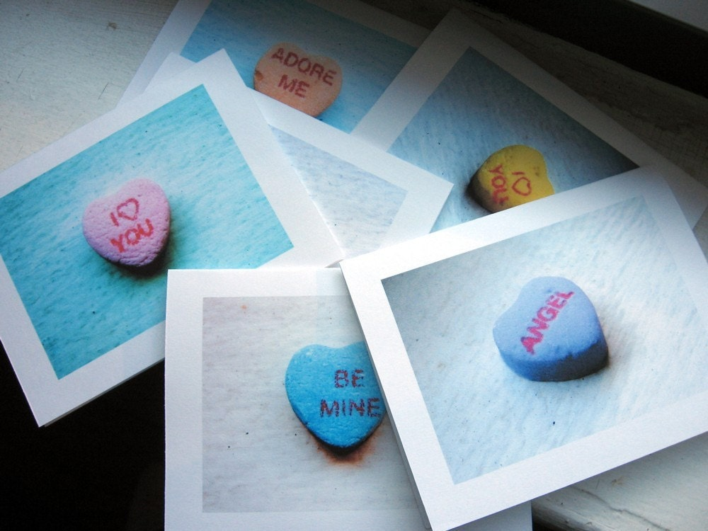 Valentine Cards, Candy Heart Note Cards, Set of 6