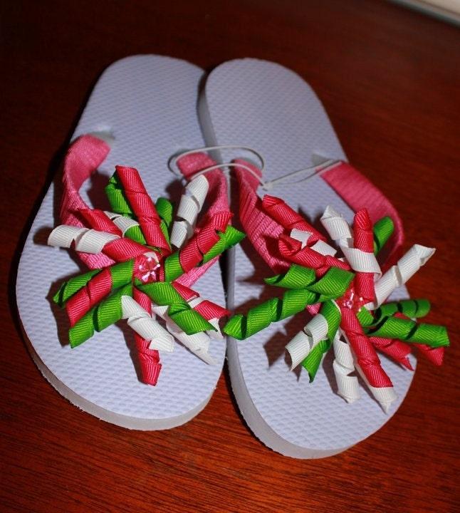 Pink/Green Korker Ribbon Flip Flops