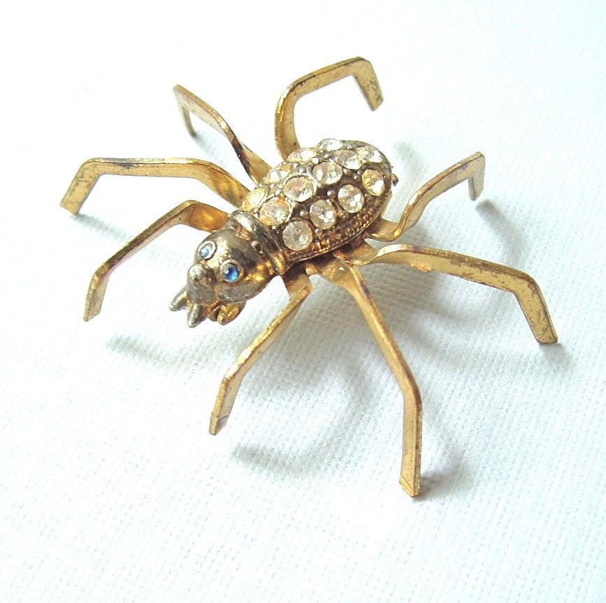 Vintage Brooch Charming Old Blue Eyed Recluse Pug Nosed Spider with Rhinestone Back Brooch ((Free Shipping USA))