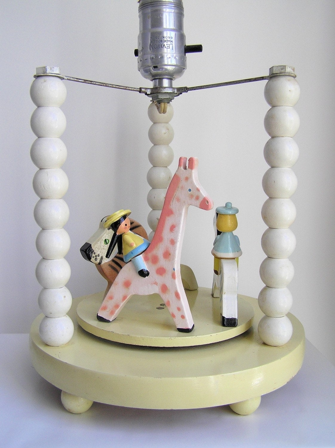 sweet vintage irmi nursery lamp and animated music box merry go round. Black Bedroom Furniture Sets. Home Design Ideas