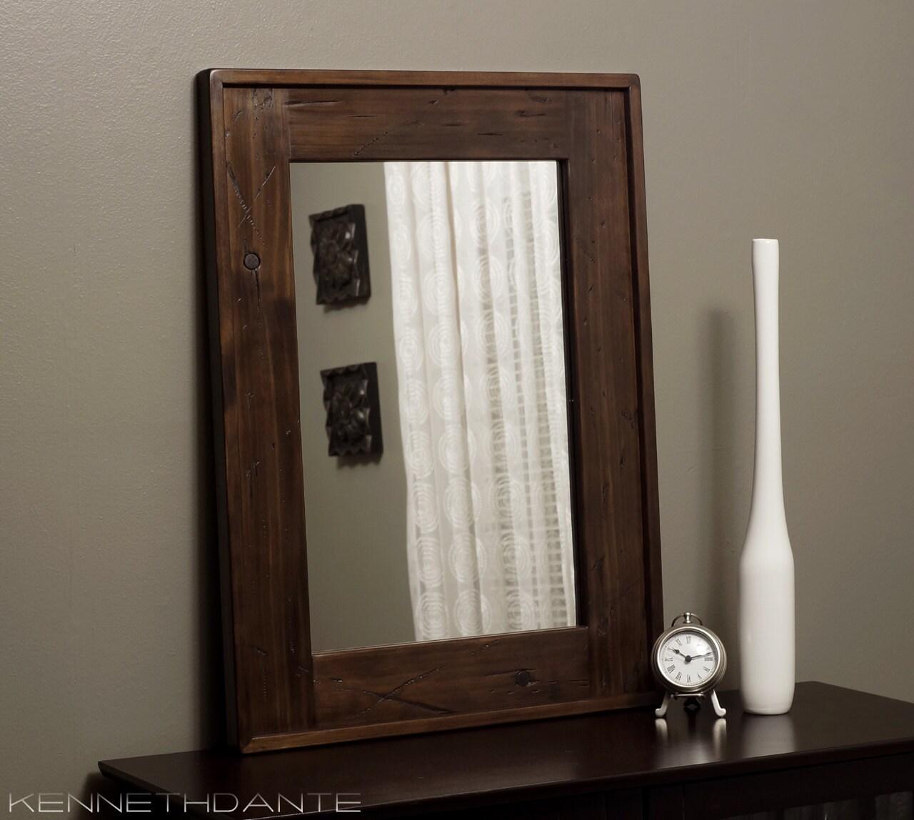 Distressed wood framed mirror brown barnwood rustic decor bathroom