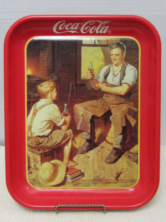 Village Blacksmith Coca Cola Brand Tray c1987 - myabbiesattic