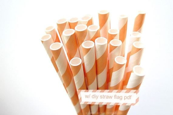Striped Orange PEACH Paper Straws orange peach and White Stripe - set of 25 w/ DIY Straw Flags PDF - PaperStrawsParty