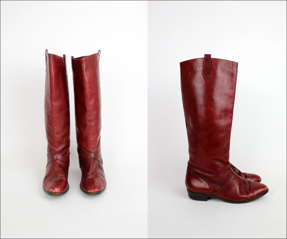 etienne aigner burgundy leather boots 7 by omniavtg on etsy