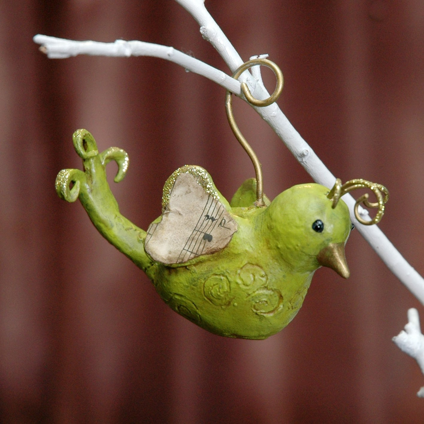 Bird Ornament Handmade Paperclay Chartreuse Green