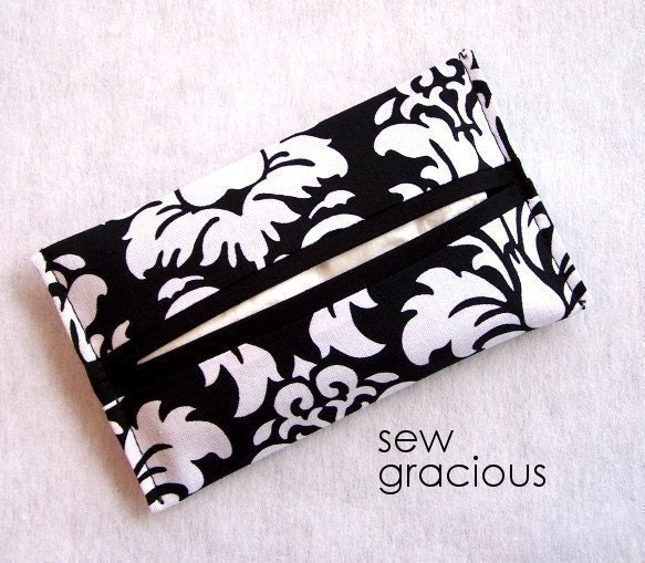 Pocket Tissue Holder . . . Black Damask