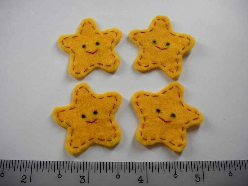 Felt Applique - STAR FISH - 4 PCS - Handmade