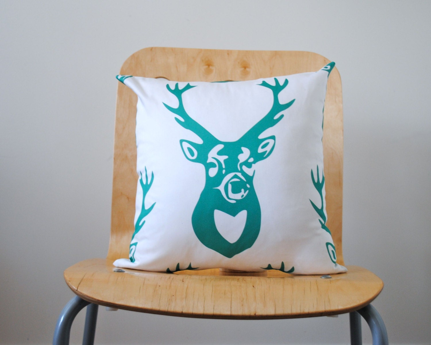 Organic Pillow Sham Cover in Emerald Green - DEER ANTLERS - Throw Pillow - Woodland Accent Cushion - Rustic Fall Home Decor - SewnNatural